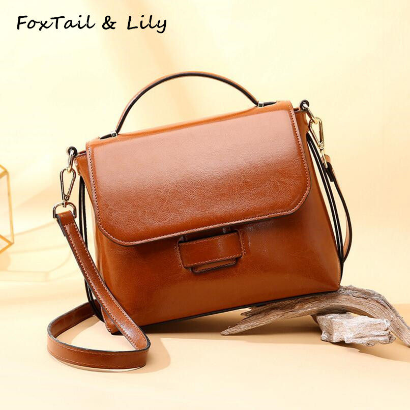 FoxTail & Lily Genuine Leather Bag Women Handbag Vintage Shoulder Bag Famous Brand Designer Shoulder Messenger Bags Simple Style foxtail