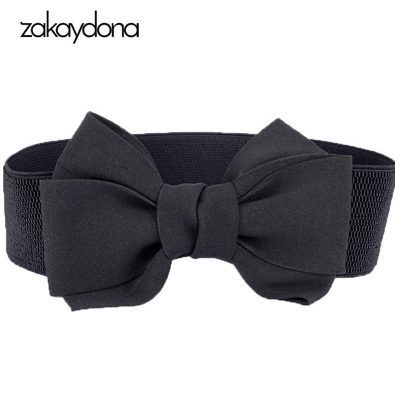 Zakaydona Fashion Black Cummerbunds Women Solid Waist Belts For Dress Ladies Bow Tie Luxury Brand Elastic Cummerbund 2004