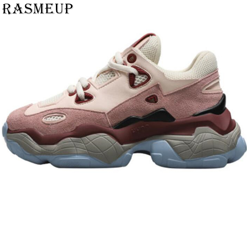 RASMEUP Genuine Leather Women's Chunky Sneakers 2019 Fashion Spring Platform Women Sneaker Woman Trainers Shoes Ladies Footwear