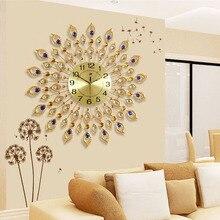 Large Wall Clock Saat Luxury Relogio de Parede Duvar Saati Diamond Peacock Metal Wall Clocks Home