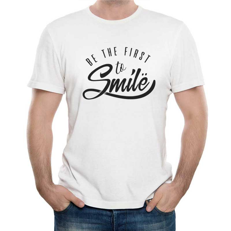 Colorful time 1984 2017 Summer Men Simple Fashion Casual Short Sleeve Novelty Be The First To Smile Letter Printed T-shirt Male Cotton