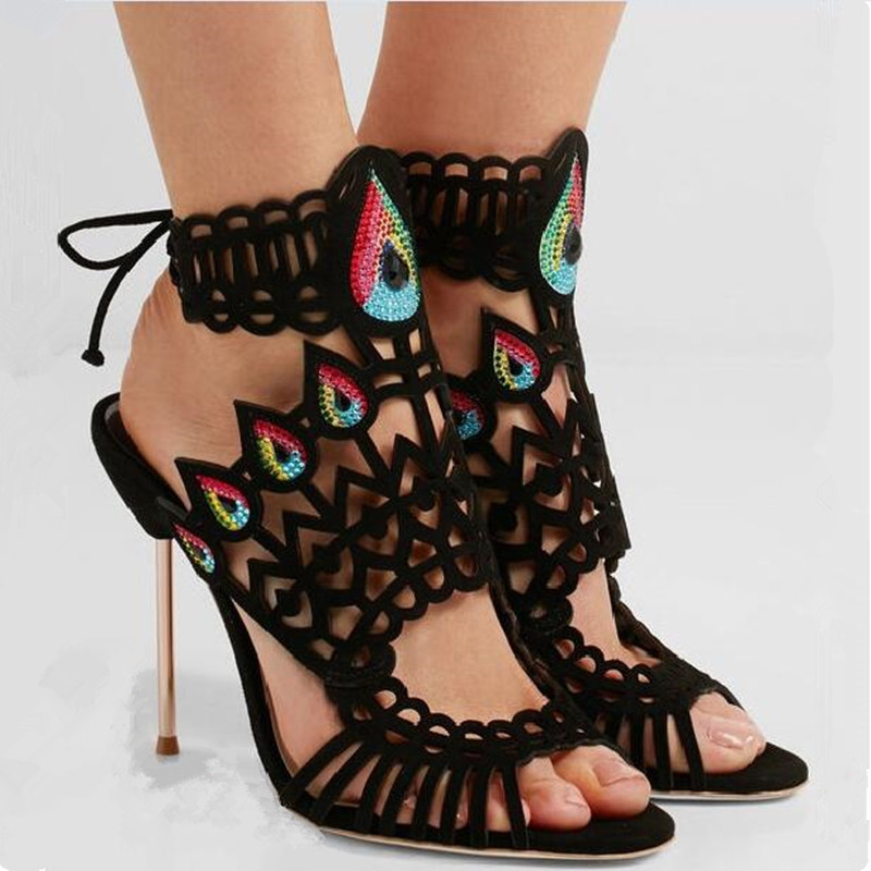 Talons Ensemble Croix Détouré Femmes Haute Diamant Sandalias Chaussures Mujer Déification D'été Pic As attaché Suede Gladiateur 2018 Sandales Kid 1BfAn8