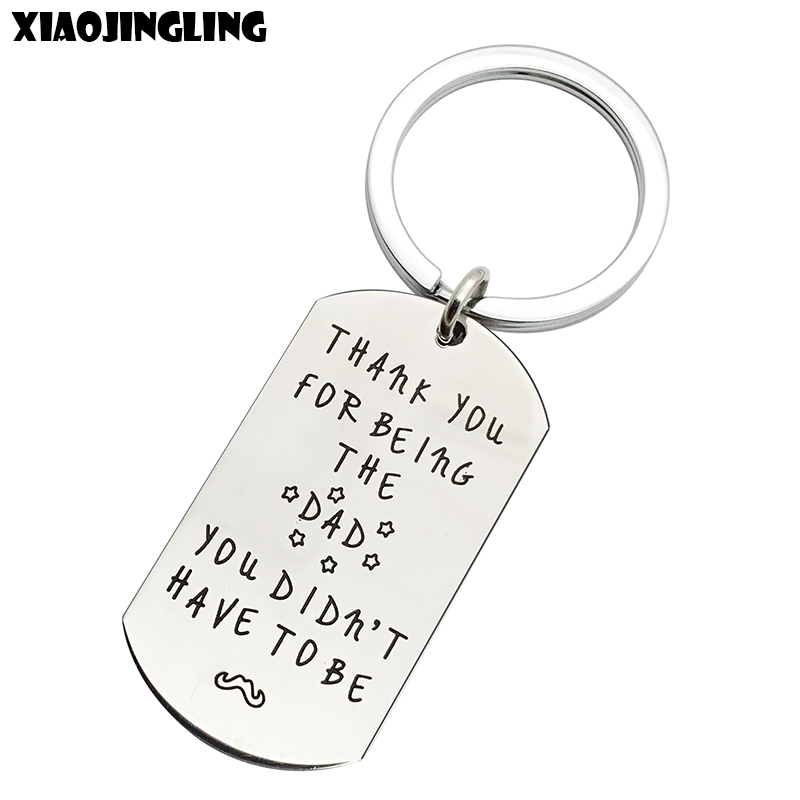 XIAOJINGLING Stainless Steel KeychainTHANK YOU FOR BEING THE DADFashion Key Chain Dad Fathers Day Gift Keyring Men Accessories