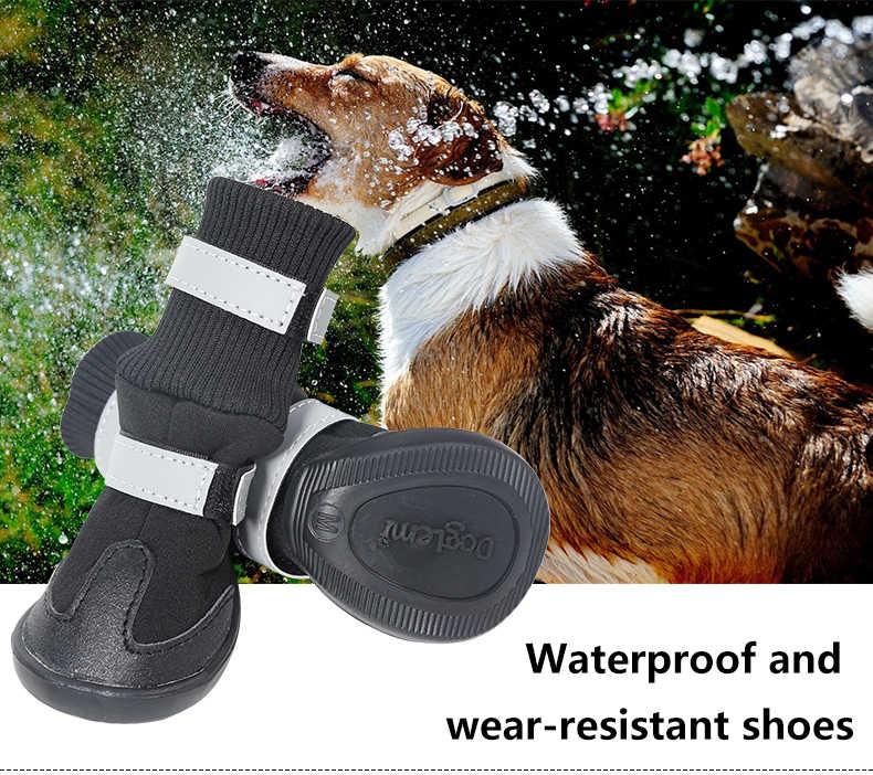 Sapatas de cão resistentes à água com cintas de fixação reflexivas e botas de cão antiderrapantes únicas perfeitas para cães médios pequenos