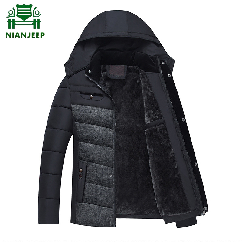 Men Jacket NIANJEEP Coats Outwear Parka Hooded Cotton-Padded Puls-Size Thicken Casual