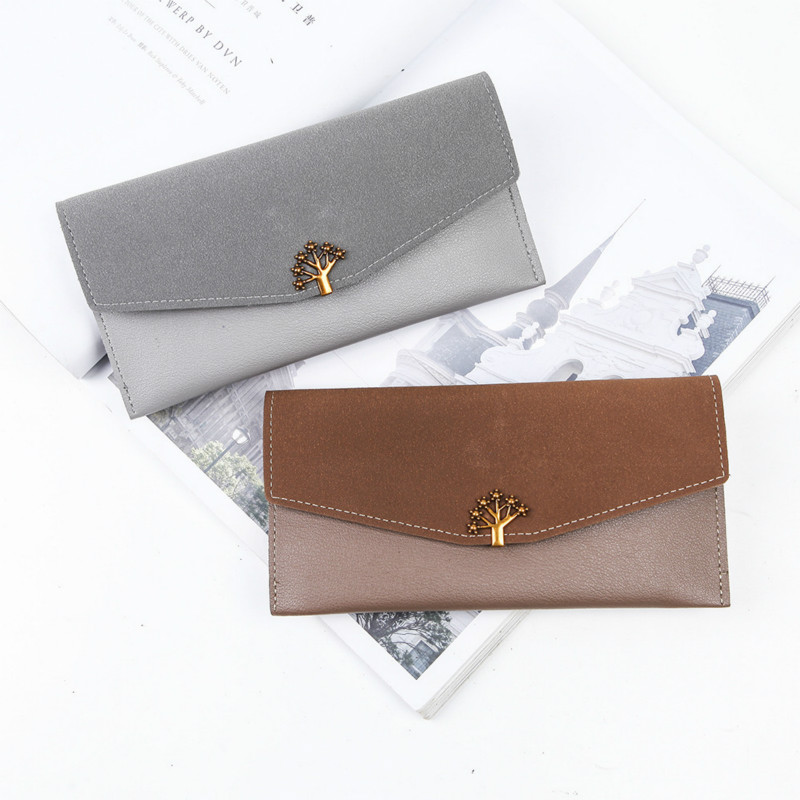 PACGOTH 2018 New Fashion Soft PU Leather Wallet Ladies Long Personality Iron Tree Simple Thin Clutch Wallet Card Cash Holder 1PC