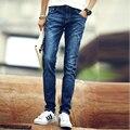 Бесплатная доставка 2015 Горячие повседневная взрыв моделей Тонкий Мужчины Тонкий прямые случайные джинсовые длинные брюки