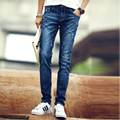 Free shipping 2015 Hot casual burst models Slim Men Slim straight casual denim long pants
