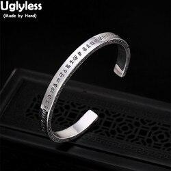 Uglyless Glänzend Echt 99% Volle Silber Öffnen Armreifen für Frauen Einstellbare Platz Armreifen Chinesischen Taoismus Segen Armbänder Schmuck
