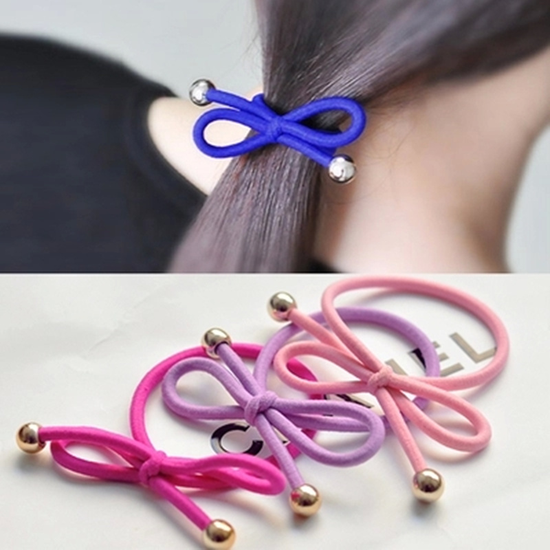 5Pcs/Bag Bowknot Gold Plated Beads Hair s