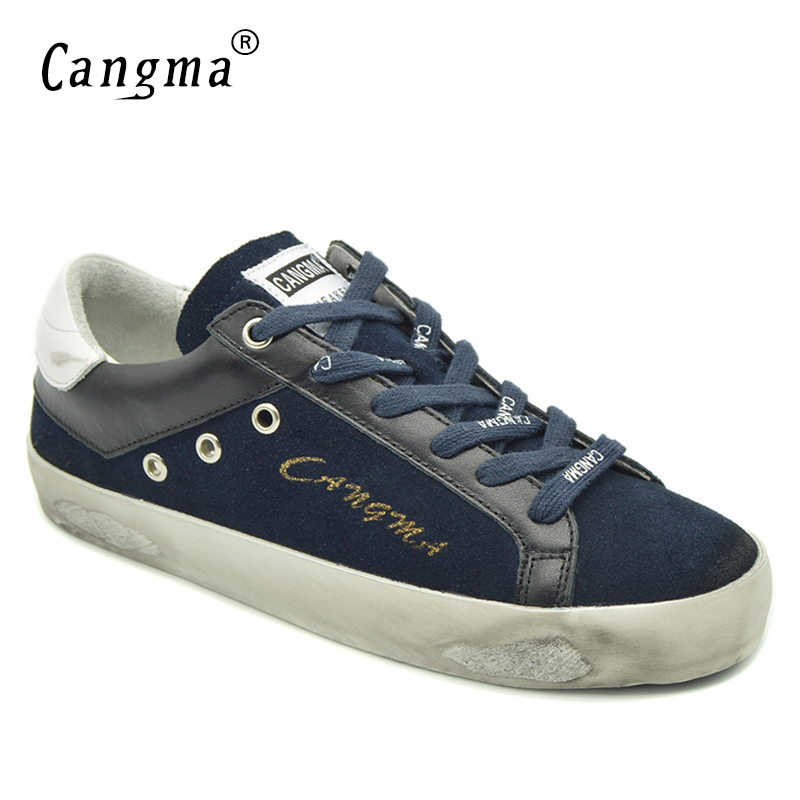 CANGMA British Style Brand Sneakers Women Shoes Navy Blue Genuine Leather Suede High Quality Female Casual