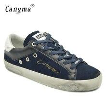 CANGMA Estilo Britânico Tênis de Marca Mulheres Sapatos Azul Marinho de Camurça de Couro Genuíno de Alta Qualidade do Sexo Feminino Casual Shoes Calçados Das Senhoras