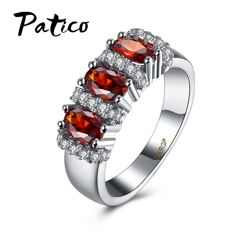PATICO Best Wedding Party Engagement Gift Exquisite Noble Women Ring Hot Black Gold Color Cubic Zirconia Fashion Jewelry Ring