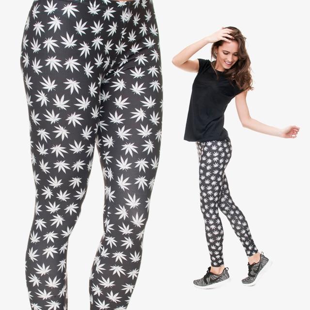 Black White Leaves Weed Women/Girl Funny Basic Leggings