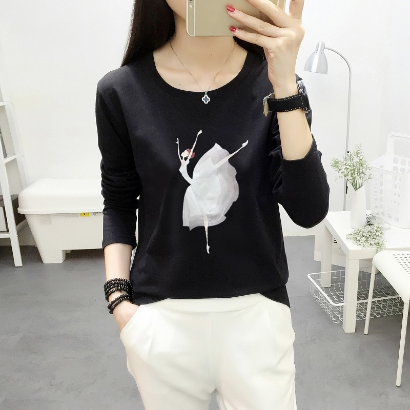 Fashion Tee Shirt Female Ballet Girl Printed Women Long Sleeve T Shirt  Womens Tops 2018 Cotton T-shirt  Casual Camisetas Mujer