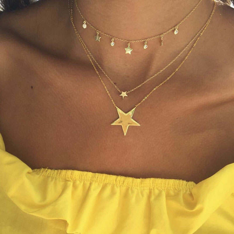 Simple Pentagram Pendant Chain Choker Necklace Layered Star Necklace Women Jewelry Collares Colar Naszyjnik Bijoux Femme