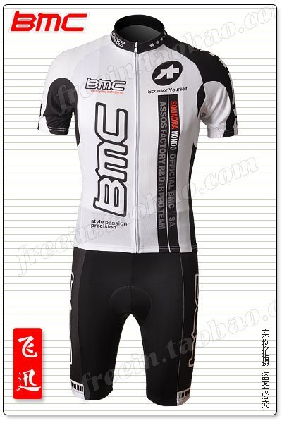 Free shipment Team BMC Team 2010 white cycling wear jersey and bib short