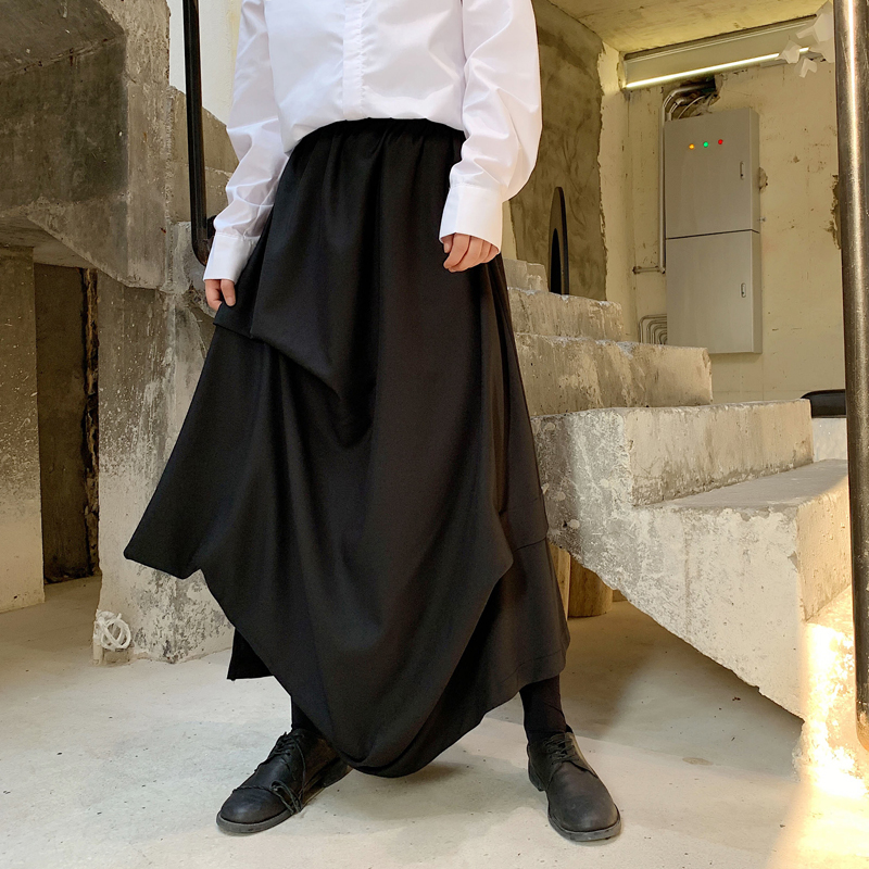 Men Japan Style Irregular Pleated Skirts Pants Male Hip Hop Streetwear Loose Casual Punk Gothic Kimono Pants Stage Clothing