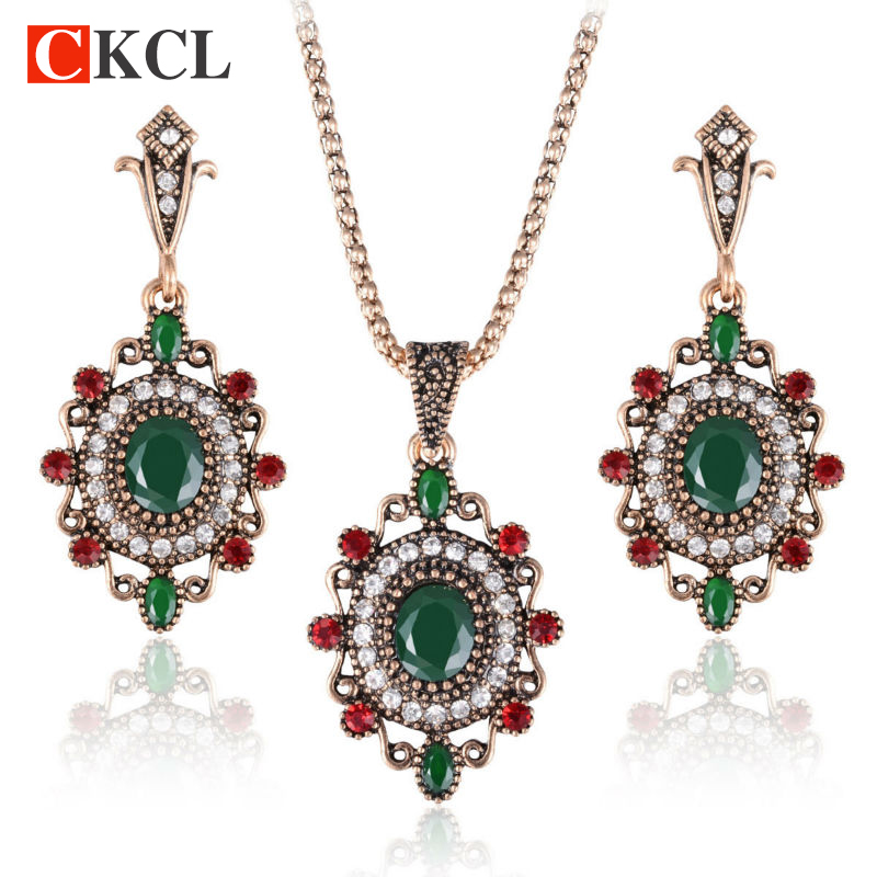 Women Vintage Jewelry Sets Earring Neclkace Sets Bridal Wedding Jewelry Ethnic Turkish Engagement Accessories