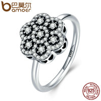BAMOER Genuine 925 Sterling Silver Heart Pave Clear CZ Flower Finger Rings For Women Luxury Sterling