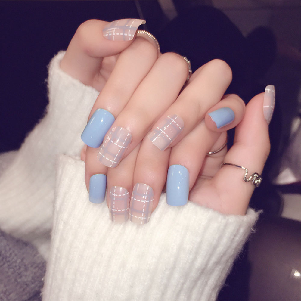 24pcs Set Simple Korea Style False Nail Short Design Full Cover Women Art Fake Ongle Nails With Glue In From Beauty Health On