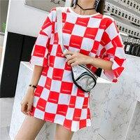 Летняя модная женская футболка с коротким рукавом Harajuku свободная футболка с принтом листьев, красная клетчатая футболка, Повседневная Длин...