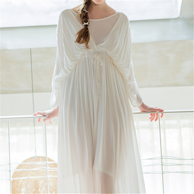 New Arrivals Solid Nightgowns Women Ribbons Home Dress White Sleep Shirts Indoor Clothing Comfortable Nightgown Female #HH46