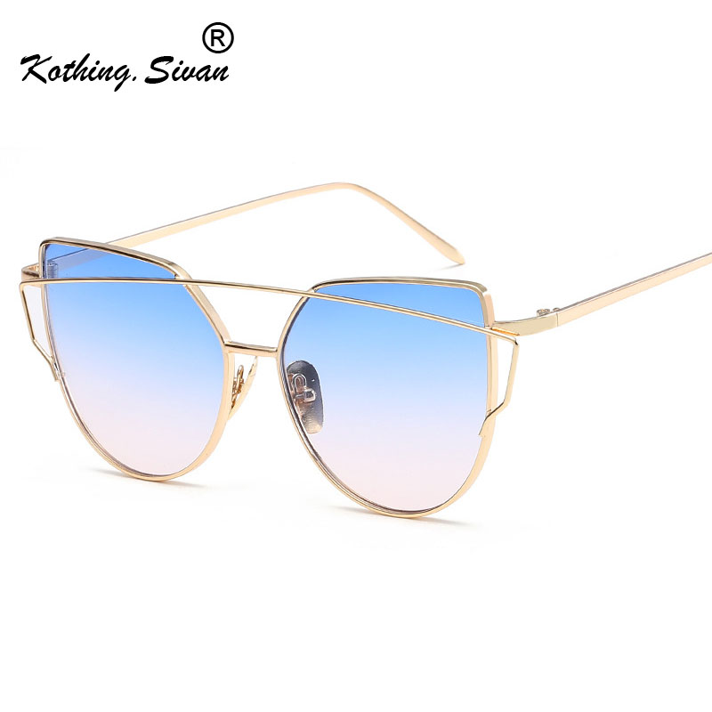 Cat eye Sunglasses Women Luxury Brand Designer Metal Mirror Flat Rose Gold Sun Glasses For Female Vintage Oculos De Sol Feminino
