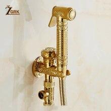 Zgrk золотой кран для биде опрыскиватель туалета угловой клапан
