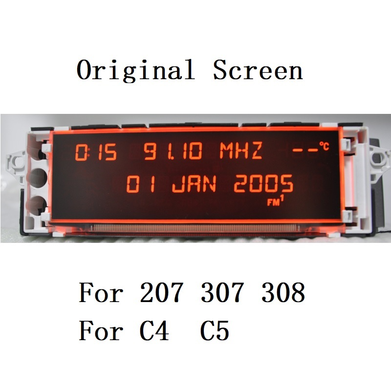 Car Screen Support USB AUX Display Red Monitor 12 Pin Suitable 307 207 308 408 3008 C4 C5 Display