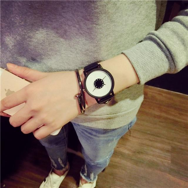 Hot fashion creative watches women men quartz-watch BGG brand unique dial design minimalist lovers' watch leather wristwatches 4