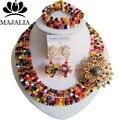 De moda de Nigeria Boda perlas africanas joyería conjunto GG-1515 Multicolor pulsera collar de Cristal Joyería Nupcial fija El Envío libre