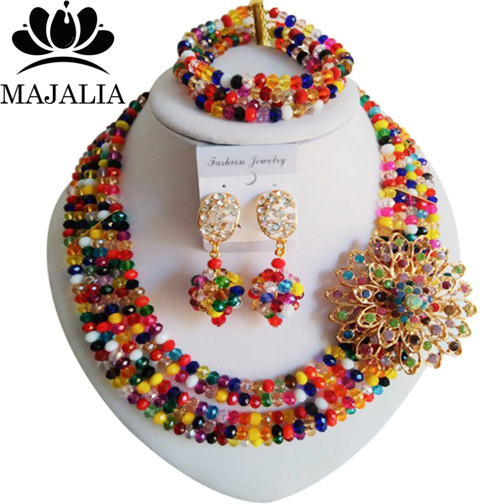 Fashion Yellow Nigerian Wedding African Beads Jewelry Set Crystal Beads Bride Jewelry GG 1515