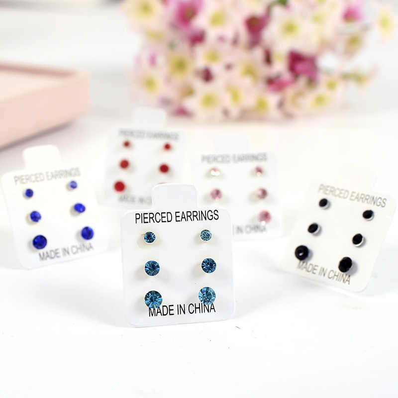 6 Fashion Colors Shiny Blue Red Black Pink Crystal Anti-allergic Plastic Stud 3 Sizes per set Women Little Stud Earrings