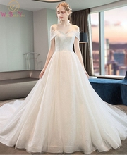 New Lace Materials Wedding Dress Simple Luxury Sweetheart Neck Lace-up Court Train A-line Off Shoulder Sexy Wedding Bridal Dress simple v neck lace a line wedding dress