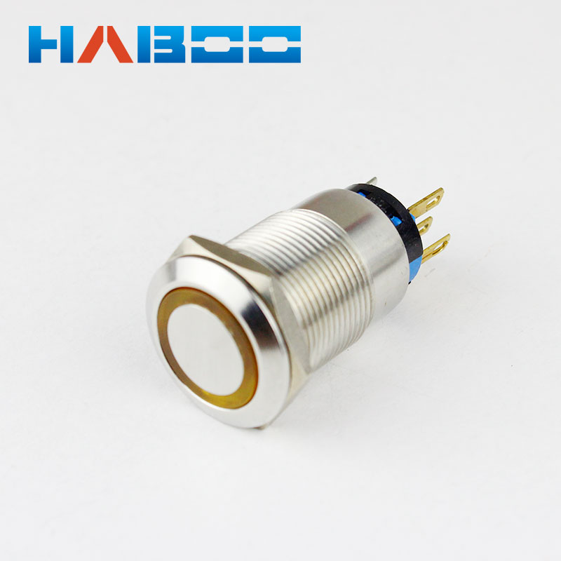 10pcs/lot IP67 2NO+2NC reset momentary illuminated <font><b>led</b></font> lighted stainless steel metal push button <font><b>switch</b></font> <font><b>led</b></font> ring <font><b>19mm</b></font> image
