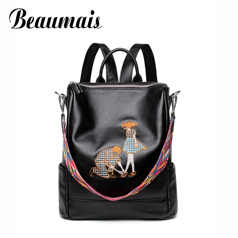 Beaumais Women Backpacks Leather Backpacks Genuine Leather School Bags For Teenage Girls Embroidery Shoulder Bag Backpack DB6109