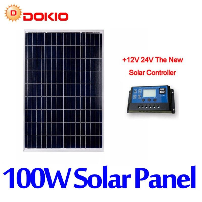 Dokio Marque 100 w Silicium Polycristallin Panneau Solaire Chine 18 v 1012x660x30mm Taille Panneau Solaire top qualité Batterie Solaire En Chine