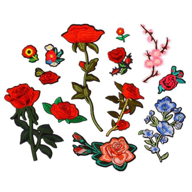 25d1213e40cc 13Pcs Rose Flower Stripe Patches Iron On Embroidered Appliques For Clothing  DIY Stickers Patches Custom Badges