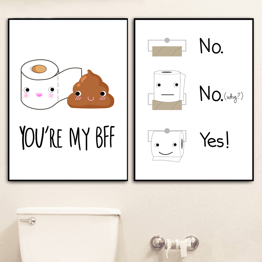 Funny Humor Bathroom Toilet Paper Nordic Posters And Prints Wall Art Canvas Painting Pictures For Living Room Home Decor