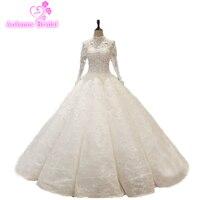 Vestido De Casamento 2018 кружева с длинным рукавом свадебное платье Роскошные Спарки невесты платье с покрывалами бальное платье принцессы Свадебные