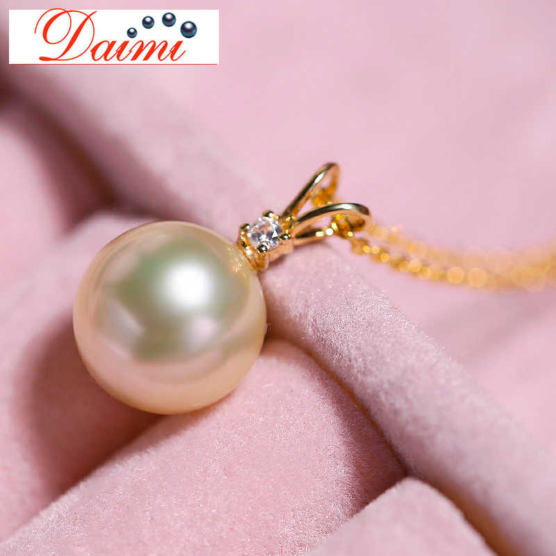 DMPFP001 8-8.5mm Light Gold Akoya Sea Pearl Pendant 18K Gold Zirconium