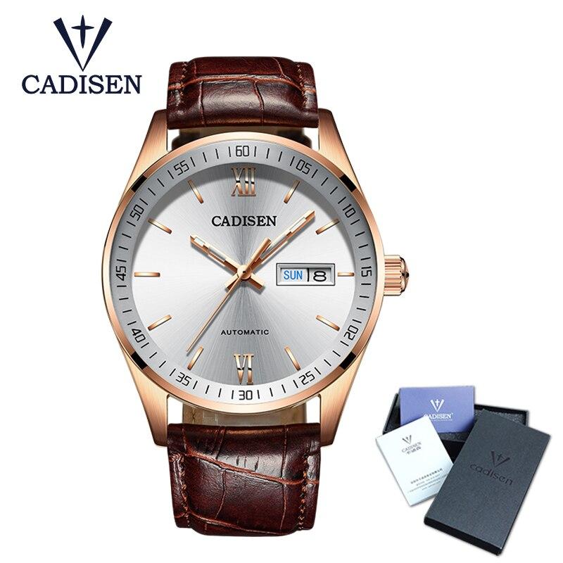 Лидер продаж Cadisen для мужчин s часы Топ Роскошные сапфировое стекло 50 м водостойкие автоматические механические часы для мужчин бизнес...
