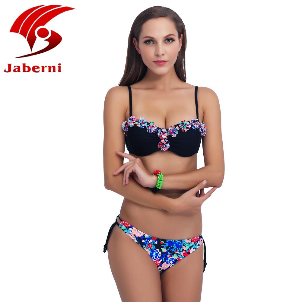 JABERNI 2017 Neue Scrunch Push Up Bikinis Eingestellt Neon Bandeau Badeanzug Blumen...
