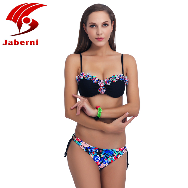 JABERNI 2017 New Scrunch Push Up Bikinis Set Neon Bandeau Swimsuit  Flowers Swimwear Women Strappy Thong Bottom Strapless Bikini