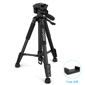 Image 5 - Andoer TTT 663N Professional Portable Travel Aluminum Camera Tripod for SLR DSLR Digital Camera Tripod with Phone Clamp