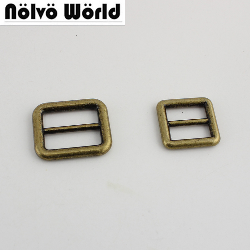 100pcs Welded 25mm 19mm Bronze Bags Handbags Long Shoulder Strap Adjustment Buckles Hardware,Alloy Slider Tri-glide Accessory