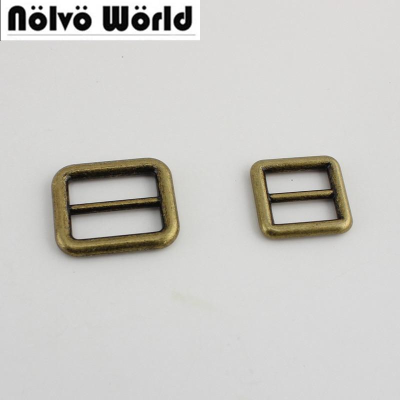 100pcs Welded 25mm 19mm Bronze Bags Handbags Long Shoulder Strap Adjustment Buckles Hardware,Alloy Slider Tri-glide Accessory