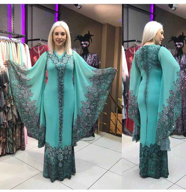 2019 new sexy fashion style african women printing plus size v-neck long dress L-2XL