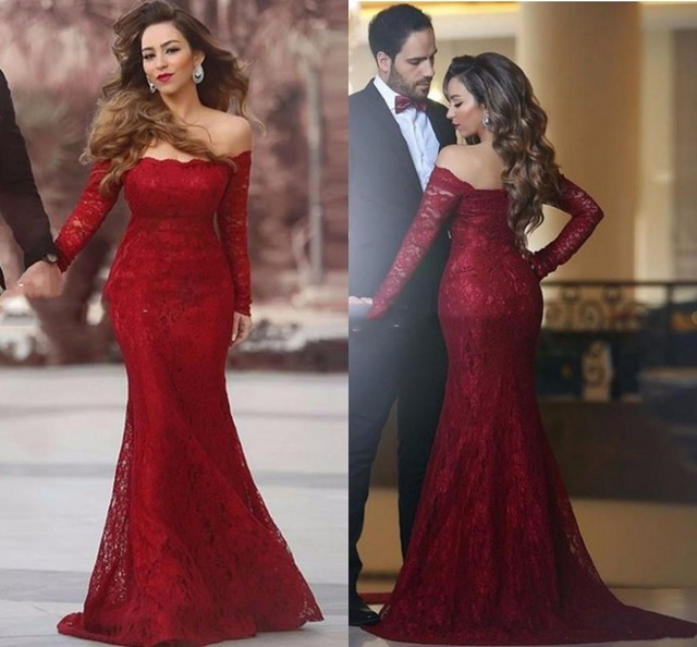 66d36792cb2e Sexy Burgundy Lace Mermaid Evening Dresses Off Shoulder Long Sleeves Fitted  Dubai Arabic Vestidos De Fiesta Prom Party Gown E186